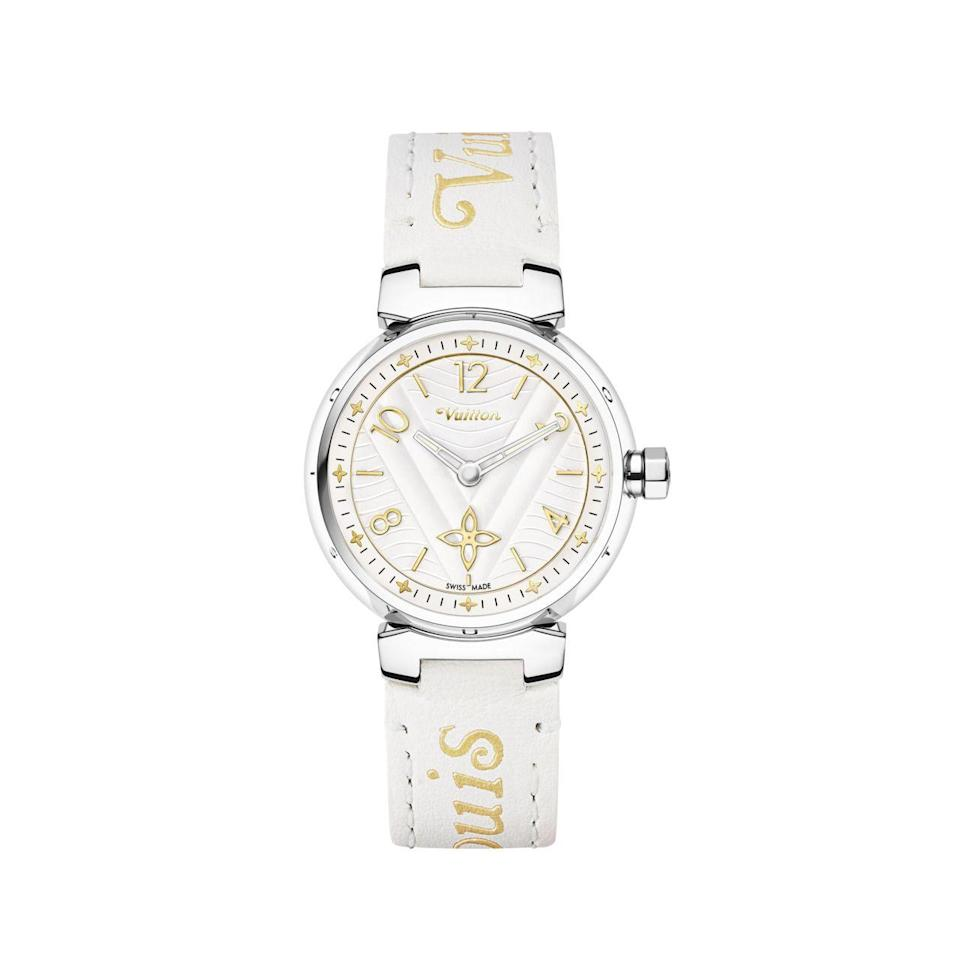 """<p>Watches are a relatively new category for storied luggage-maker Louis Vuitton, since launching in the early 2000s, but by weaving in the heritage codes of the house and travel, the collection is inspired by their worldly clientele constantly fluttering between time zones. With Nicolas Ghesquière and Virgil Abloh at the helms of the women's and men's collections respectively, the house is not short of innovation, especially in their timepieces. The Tambour New Wave is the newest iteration of the Tambour that was originally launched in 2002, and the """"My LV Tambour"""" edition offers customizable straps to curate the look the season or ones mood. To get behind a brand that is at the cusp of developing new codes for their timepieces is ideal for anyone who considers themselves an early adopter.</p><p><a href=""""https://us.louisvuitton.com/eng-us/products/tambour-new-wave-34-nvprod1780142v"""" rel=""""nofollow noopener"""" target=""""_blank"""" data-ylk=""""slk:Tambour New Wave 34"""" class=""""link rapid-noclick-resp"""">Tambour New Wave 34</a>, $3,780.</p>"""