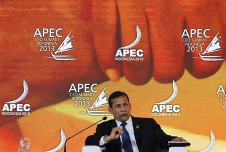 Peru's President Humala speaks during a dialogue session at the APEC CEO Summit in Nusa Dua
