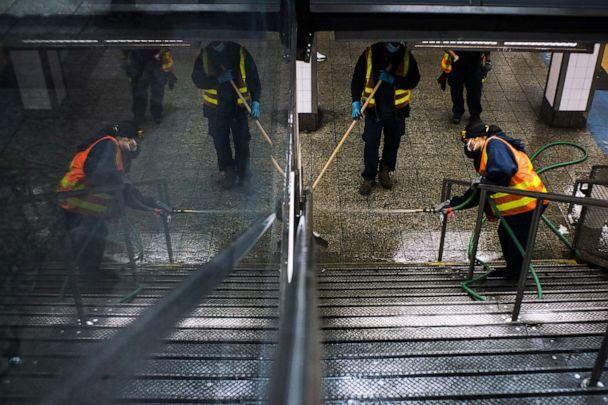 PHOTO: Workers clean Grand Central station as the New York City subway system, the largest public transportation system in the nation is set for nightly cleaning due to the continued spread of the coronavirus, May 6, 2020 in New York City. (Eduardo Munoz Alvarez/Getty Images)