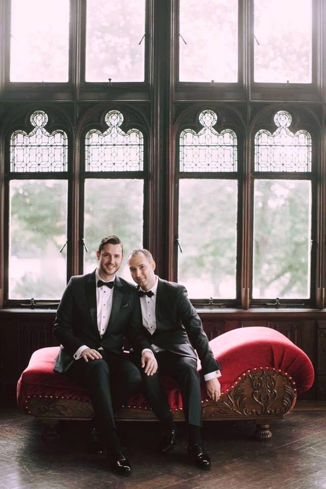 """<p>Greg and Tyler met while playing on the same volleyball team and started scheduling their dates before the games. Couples can talk about how much the vow exchange meant to them, but for Greg and Tyler it was all about their party on October 8, 2017: """"Some say that the highest happiness in life is the bliss of marriage. For us, the highest happiness was bringing together our friends and family in a castle and dancing to our carefully curated playlist, which relied heavily on Fantasy-era Mariah Carey.""""</p>"""