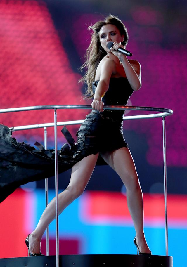 LONDON, ENGLAND - AUGUST 12: Victoria Beckham of Spice Girls performs during the Closing Ceremony on Day 16 of the London 2012 Olympic Games at Olympic Stadium on August 12, 2012 in London, England. (Photo by Julian Finney/Getty Images)