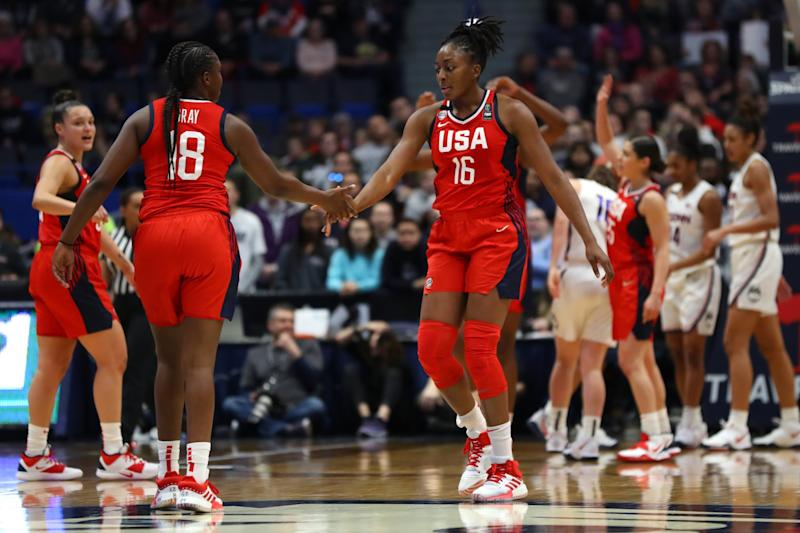 HARTFORD, CONNECTICUT - JANUARY 27: Nneka Ogwumike #16 and Chelsea Gray #18 of the United States celebrate during USA Women's National Team Winter Tour 2020 game between the United States and the UConn Huskies at The XL Center on January 27, 2020 in Hartford, Connecticut. (Photo by Maddie Meyer/Getty Images)