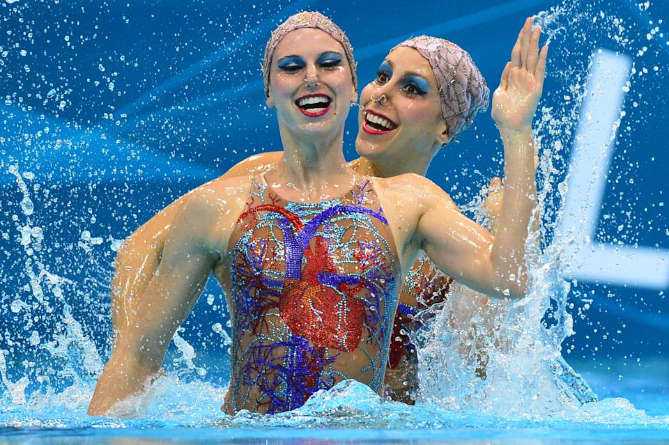 Brazil's synchronized swimming team in 2012 wearing costumes with depictions of organs on the front and back