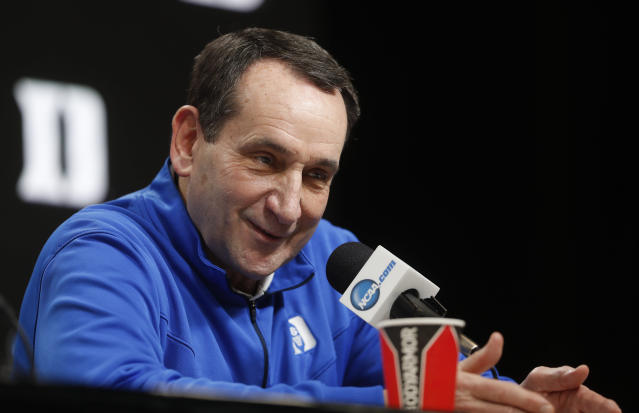 Duke head coach Mike Krzyzewski answers questions during a news conference at the NCAA men's college basketball tournament in Washington, Thursday, March 28, 2019. Duke plays Virginia Tech in an East Regional semifinal game on Friday. (AP Pablo Martinez Monsivais}