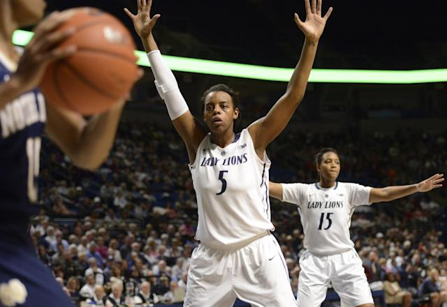 Penn State's Talia East (5) and Kaliyah Mitchell (15), right, try to block a ball being brought into play by Notre Dame guard Lindsay Allen (15) in an NCAA college basketball game on Wednesday, Dec. 4, 2013, in State College, Pa. Notre Dame defeated Penn State 77-67. (AP Photo/John Beale)