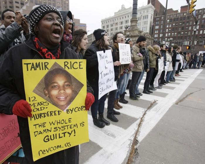 Demonstrators block Public Square in Cleveland during a November 2014 protest over the police shooting of Tamir Rice, 12.