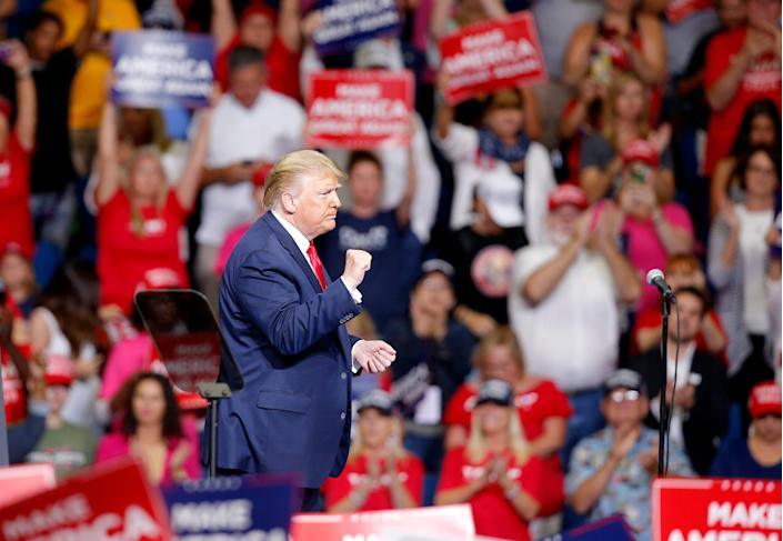 TULSA, OKLAHOMA USA JUNE 20, 2020: President Donald Trump reacts following his speech during a rally at the BOK Center in Tulsa, Okla., Saturday, June 20, 2020. [Sarah Phipps/The Oklahoman] (Via OlyDrop)