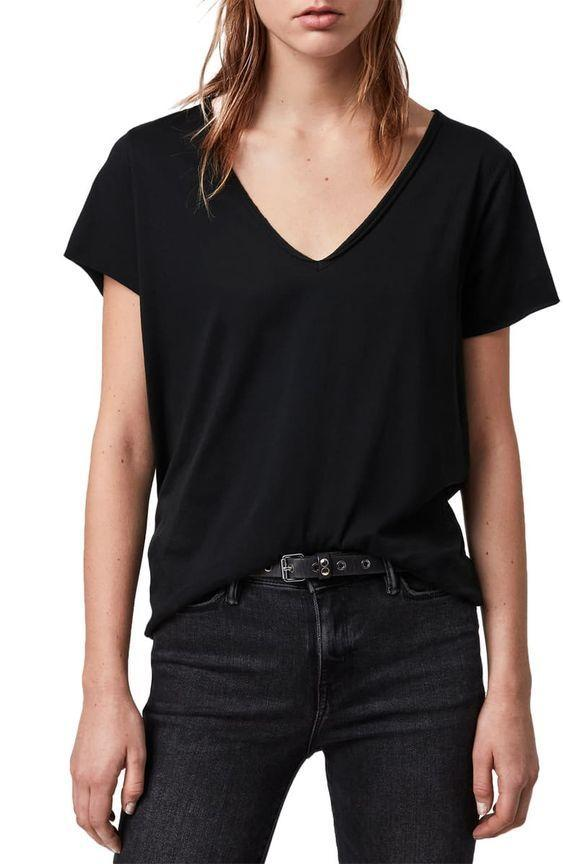 "Black and basic, this V-neck is a minimalist's dream. $40, Nordstrom. <a href=""https://www.nordstrom.com/s/allsaints-emelyn-tonic-tee/5534718"" rel=""nofollow noopener"" target=""_blank"" data-ylk=""slk:Get it now!"" class=""link rapid-noclick-resp"">Get it now!</a>"