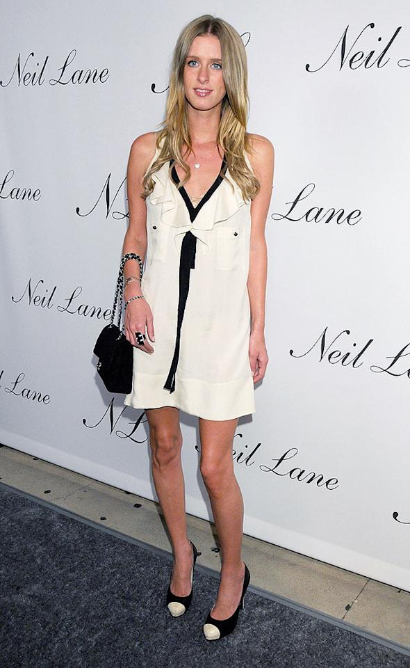 "Nicky Hilton matched from head to toe in black and white. Gregg DeGuire/<a href=""http://www.wireimage.com"" target=""new"">WireImage.com</a> - October 29, 2008"