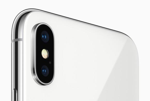 The rear-facing camera on the Apple iPhone X.