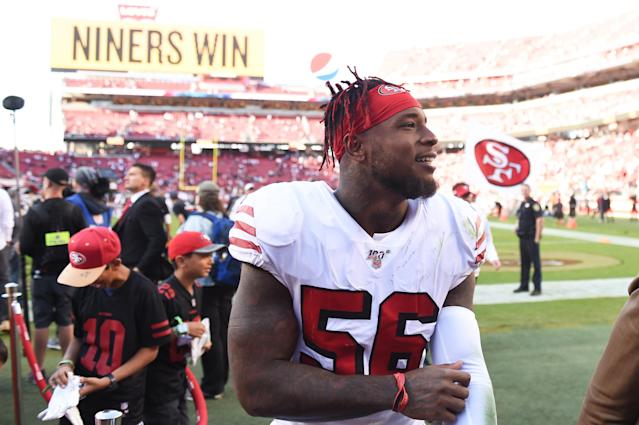An MRI revealed 49ers linebacker Kwon Alexander suffered a season-ending torn pectoral on Thursday night. (Cody Glenn/Getty Images)