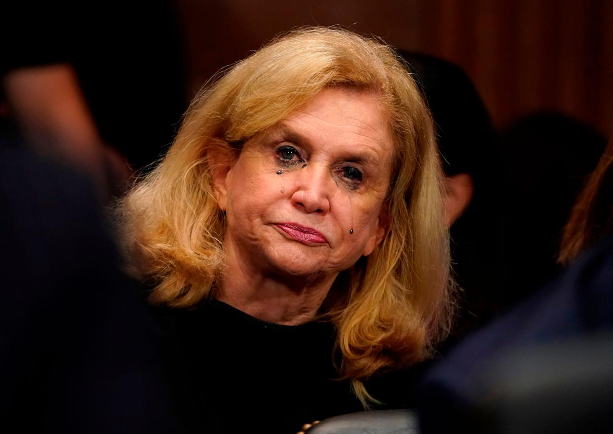 """Rep. Carolyn Maloney (D-N.Y) cries as Christine Blasey Ford testifies.Blasey described """"the uproarious laughter between the [Kavanaugh and Mark Judge]"""" as her most vivid memory from the alleged assault."""
