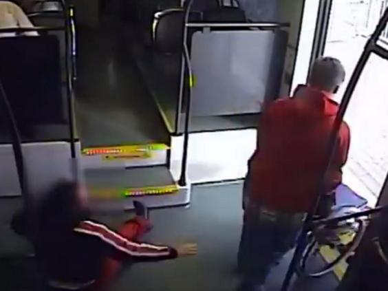 Still image from CCTV footage of man allegedly tipping woman out of wheelchair before trying to steal in on train in Phoenix, Arizona, 29 November 2019. (Phoenix Police Department)