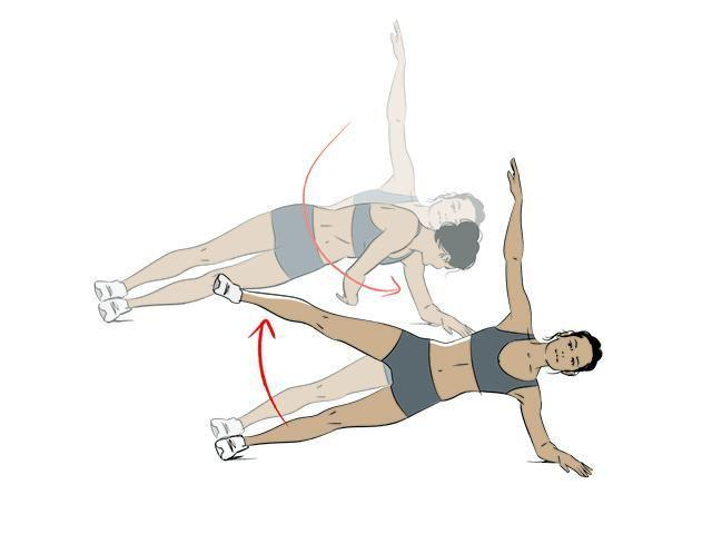 <p><strong>1/</strong> Start in side plank (on hand or elbow). Extend top arm up before rotating down and reaching under your waist and back to extend up.</p><p><strong>2/ </strong>Lift your top leg to 45-degree angle and slowly lower. That's one rep.</p>