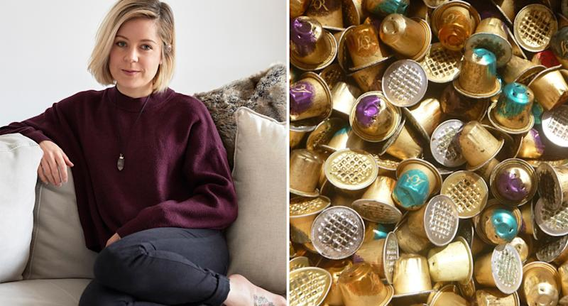 Crema Joe founder Kayla Mossuto, pictured left, and a picture of masses of used coffee pods. Source: Supplied