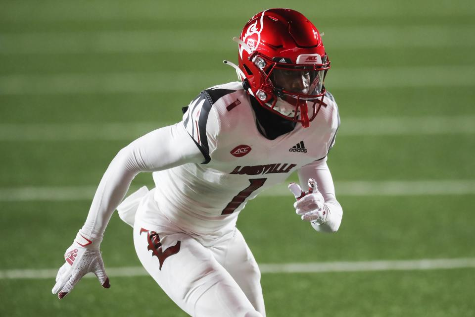 Louisville wide receiver Tutu Atwell is a lean, big-play machine. (AP Photo/Michael Dwyer)