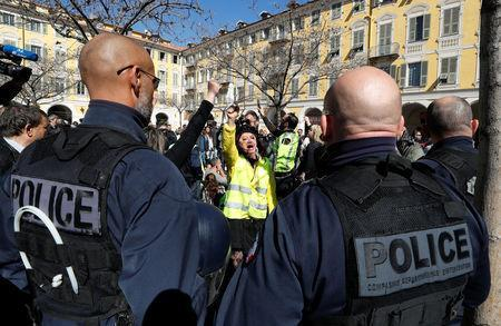 """French """"yellow vests"""" stage their 19th round of protests in Nice, France, March 23, 2019. REUTERS/Eric Gaillard"""