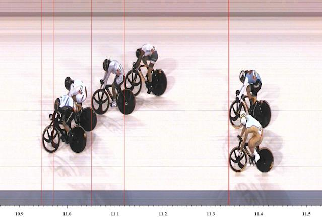 LONDON, ENGLAND - AUGUST 03: In this handout photo finish image supplied by Omega, Victoria Pendleton of Great Britain wins gold in the Women's Keirin Track Cycling final on Day 7 of the London 2012 Olympic Games at Velodrome on August 3, 2012 in London, England. (Photo by Omega via Getty Images)