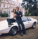 <p>Barbara Bach and Roger Moore leaning on the now-famous 'amphibious' Lotus Esprit for 'The Spy Who Loved Me', 1977.</p>