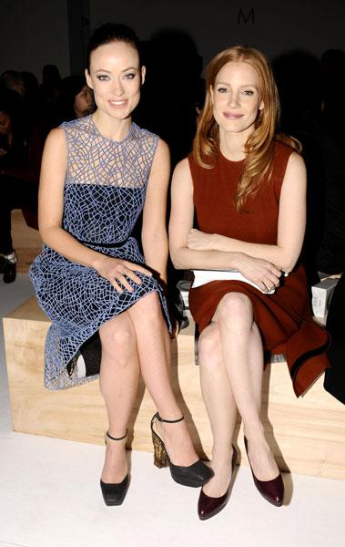 <b>Olivia Wilde and Jessica Chastain </b><br><br>The Hollywood actresses looked chic on the Calvin Klein front row.<br><br>Image © Rex