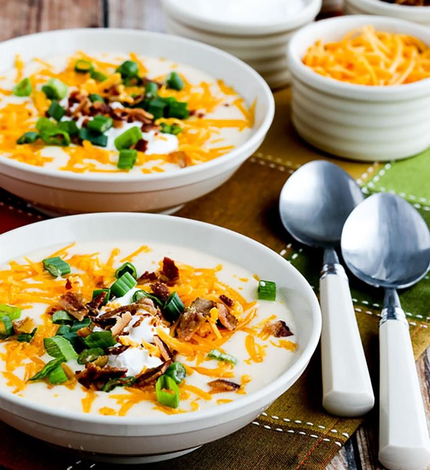 "<p>Even though this soup is made with <a rel=""nofollow"" href=""http://www.self.com/gallery/7-low-carb-meals-rds-love?mbid=synd_yahoofood"">cauliflower</a>, it tastes like a loaded baked potato. Bacon, cheese, and sour cream deliver the protein. Get the recipe <a rel=""nofollow"" href=""http://www.kalynskitchen.com/2017/02/instant-pot-low-carb-loaded-cauliflower-soup.html?mbid=synd_yahoofood"">here</a>.</p>"