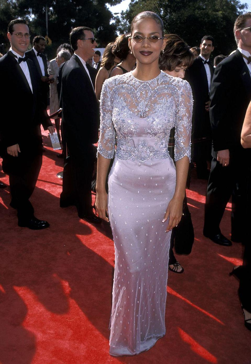 <p>Berry made a statement with this detailed dress at the Emmy Awards in 1998. </p>