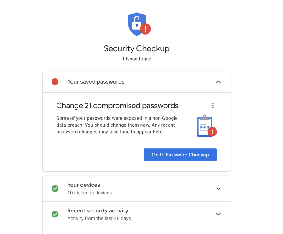 Your Google account can also provide you with information about potentially problematic passwords. (Image: Howley)