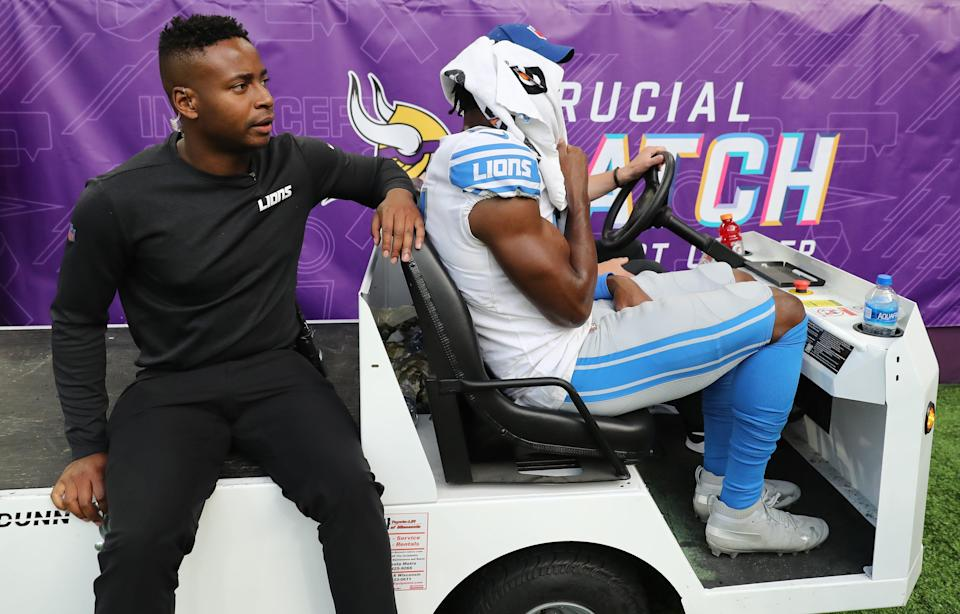 Detroit Lions receiver Quintez Cephus is carted off the field with a shoulder injury during the first half against the Minnesota Vikings on Oct. 10, 2021 at U.S. Bank Stadium in Minneapolis.