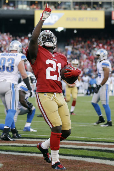 San Francisco 49ers running back Frank Gore celebrates after scoring a touchdown during the second quarter of an NFL football game against the Detroit Lions in San Francisco, Sunday, Sept. 16, 2012. (AP Photo/Marcio Jose Sanchez)