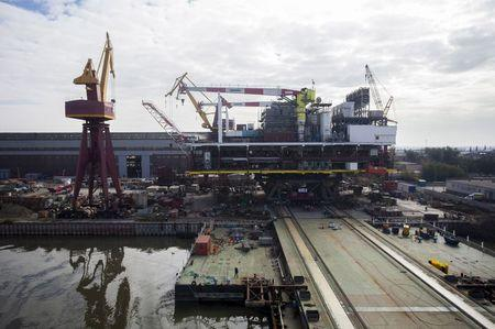 A general view of the Krasnye Barrikady (Red Barricades) shipyard in the southern city of Astrakhan, Russia, in this October 14, 2014 file photo.  REUTERS/Ivan Rotanov/Files
