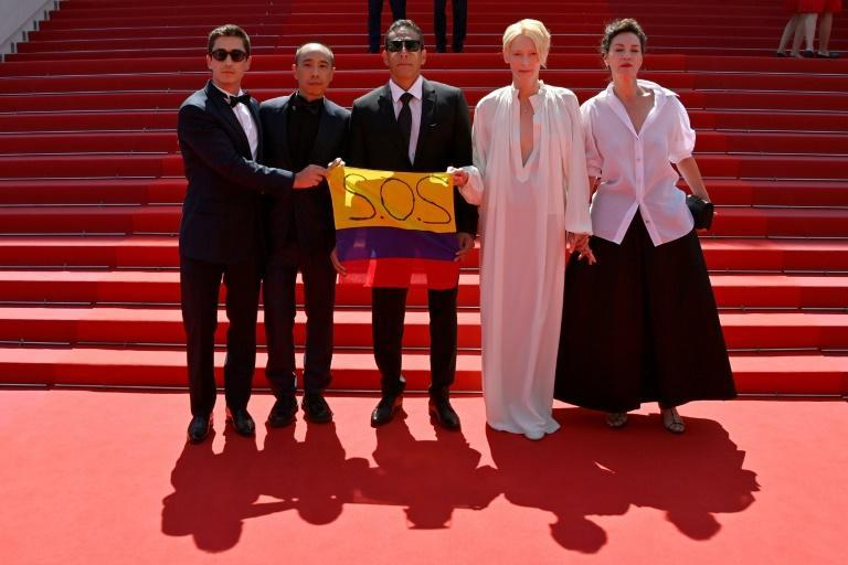 Swinton's angelic appearance with 'Memoria' crew was also a chance to support anti-governments protests in Colombia where the film was shot