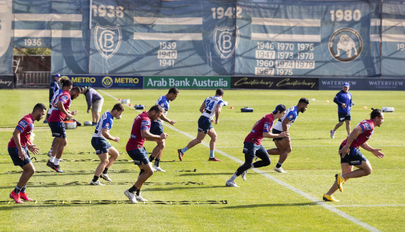 Bulldogs' players of the National Rugby League train in Sydney Friday, May 15, 2020. The National Rugby League will restart its interrupted season on May 28. (Craig Golding/AAP Image via AP)