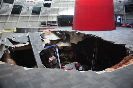 National Corvette Museum photo shows a sink hole that swallowed eight Corvettes in Bowling Green, Kentucky in this image released to Reuters on February 12, 2014. REUTERS/National Corvette Museum/Handout