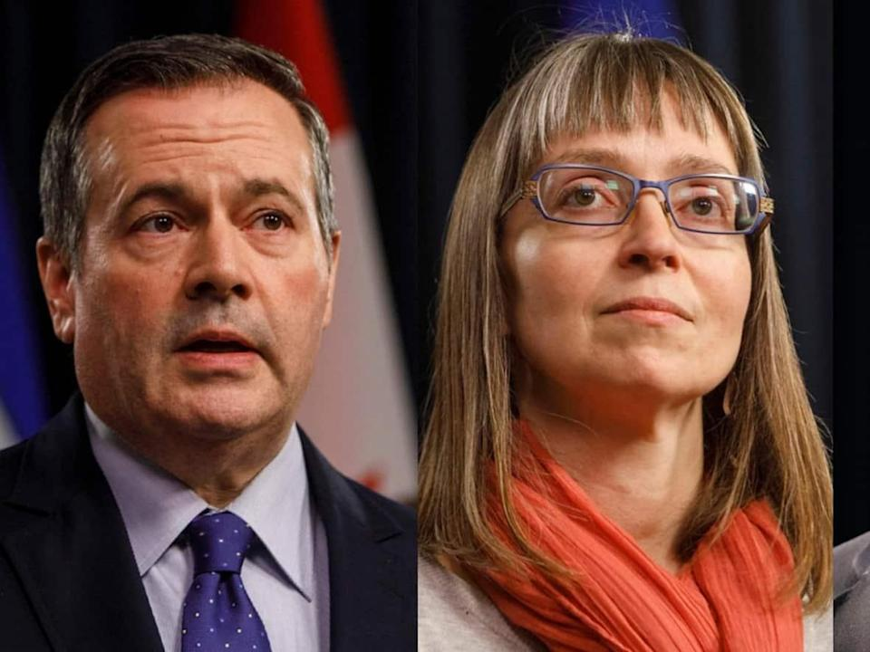 Alberta Premier Jason Kenney, Dr. Deena Hinshaw, the province's chief medical officer of health, and Health Minister Jason Copping updated Albertans about COVID-19 on Tuesday. (Jason Franson/The Canadian Press; Government of Alberta - image credit)