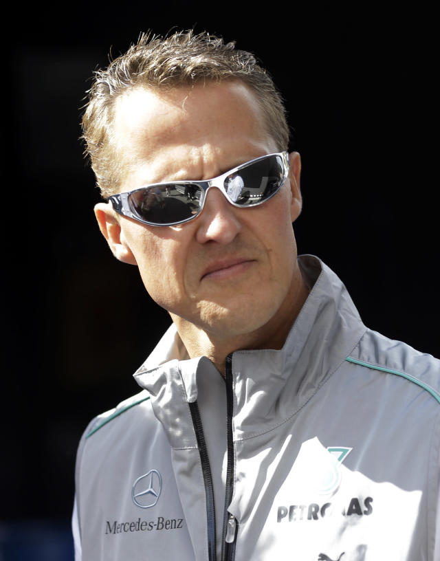 FILE - In this Thursday, Aug. 30, 2012 file photo, Mercedes Grand Prix driver Michael Schumacher of Germany, looks on ahead the Belgium Formula One Grand Prix in Spa-Francorchamps circuit , Belgium. French radio says retired Formula One champion Michael Schumacher has been injured in a skiing accident. RMC radio reported Sunday Dec. 29, 2013 that the seven-time champion had fallen while skiing off-piste at the French Alpine resort of Meribel. The radio quoted resort director Christophe Gernigon-Lecomte as saying that Schumacher was wearing a helmet when he fell and hit a rock.(AP Photo/Luca Bruno, File)