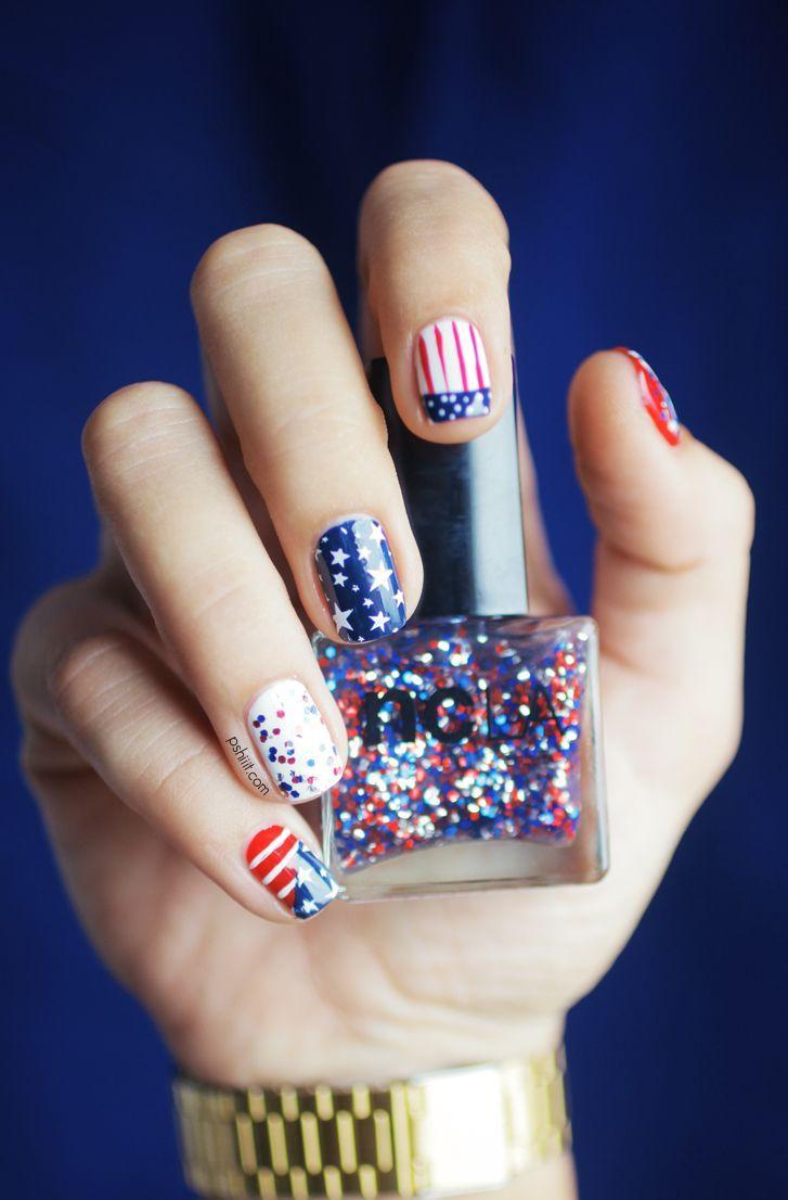 """<p>Why settle for just one design when you can have five instead? Show off all your favorite red, white, and blue looks on each hand with this surprisingly simple tutorial.</p><p><a class=""""link rapid-noclick-resp"""" href=""""https://www.amazon.com/NCLA-Born-Fourth-1-Ounce/dp/B01HL5DOQ8/?tag=syn-yahoo-20&ascsubtag=%5Bartid%7C10055.g.1278%5Bsrc%7Cyahoo-us"""" rel=""""nofollow noopener"""" target=""""_blank"""" data-ylk=""""slk:SHOP GLITTER POLISH"""">SHOP GLITTER POLISH</a></p><p><em><a href=""""https://pshiiit.com/2013/07/04/happy-4th-of-july-ladies/"""" rel=""""nofollow noopener"""" target=""""_blank"""" data-ylk=""""slk:See more on Pshiiit »"""" class=""""link rapid-noclick-resp"""">See more on Pshiiit »</a></em> </p>"""