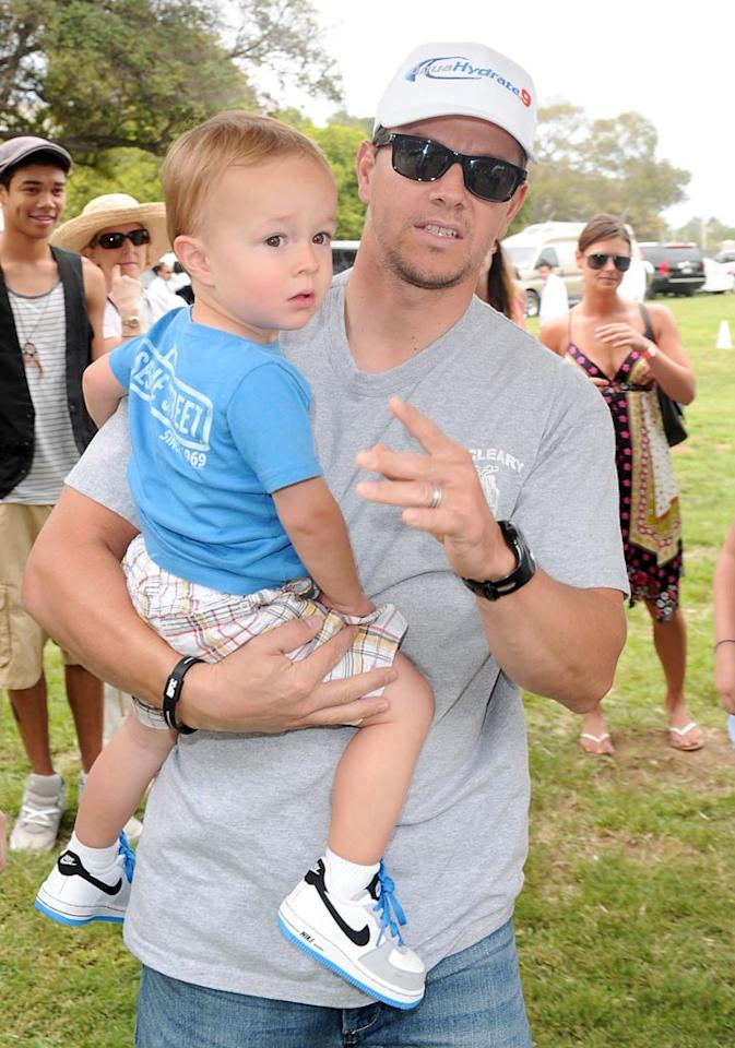 "At the A Time for Heroes Celebrity Picnic for the Elizabeth Glaser Pediatric AIDS Foundation in L.A., dad of four Mark Wahlberg spent some QT with 2-year-old Brendan Joseph. The tot's siblings include 10-month-old Grace, 4-year-old Michael, and 7-year-old Ella. Alberto E. Rodriguez/<a href=""http://www.gettyimages.com/"" target=""new"">GettyImages.com</a> - June 13, 2010"