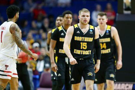 Mar 22, 2019; Tulsa, OK, USA; Northern Kentucky Norse guard Tyler Sharpe (15) and teammates react after a play during the second half of their game against the Texas Tech Red Raiders in the first round of the 2019 NCAA Tournament at BOK Center. The Texas Tech Red Raiders won 72-57. Mandatory Credit: Mark J. Rebilas-USA TODAY Sports