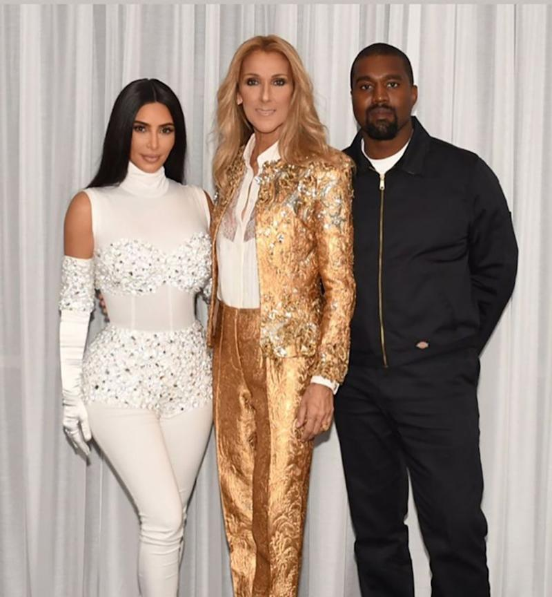 Kim Kardashian West with Céline Dion and Kanye West | Kim Kardashian/Instagram