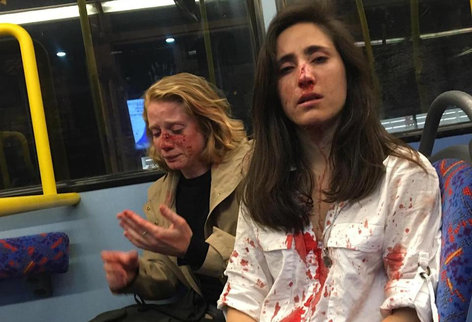 Melania Geymonat and Chris Hannigan were targeted on the top of a double-decker London night bus (Picture: Facebook)