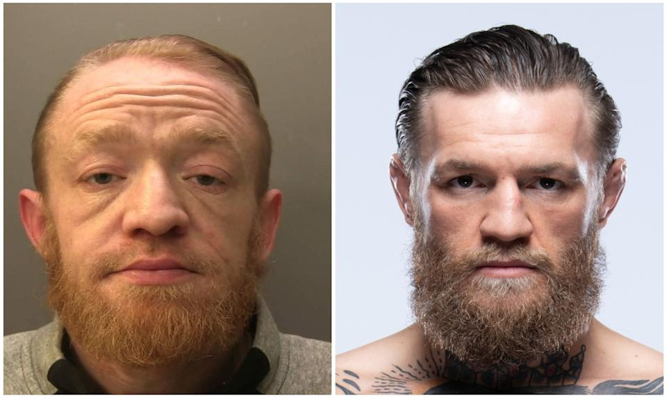 El doble traficante de Conor McGregor y el luchador irlandés de la UFC. (Foto: Facebook / Surrey Police / Jeff Bottari / Zuffa LLC / Getty Images).