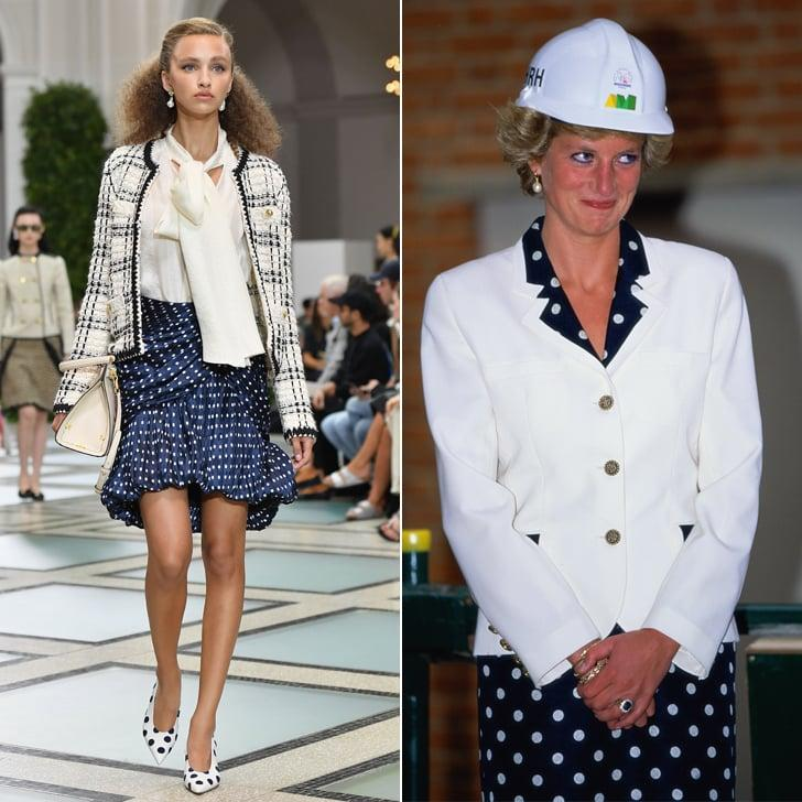 """<p>This <a href=""""https://www.popsugar.com/fashion/Tory-Burch-Spring-2020-Collection-46578224"""" class=""""ga-track"""" data-ga-category=""""Related"""" data-ga-label=""""https://www.popsugar.com/fashion/Tory-Burch-Spring-2020-Collection-46578224"""" data-ga-action=""""In-Line Links"""">Tory Burch look on the runway</a> instantly reminded us of some of Princess Diana's most iconic polka-dot moments. She broke up the pattern with a touch of white at a ceremony at the Royal Marsden Hospital in London in June 1990.</p>"""