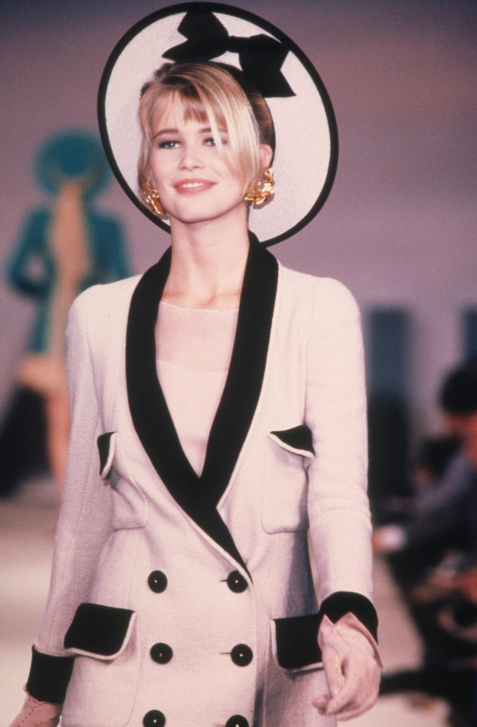 Claudia Schiffer in her first Chanel Couture catwalk show in 1990