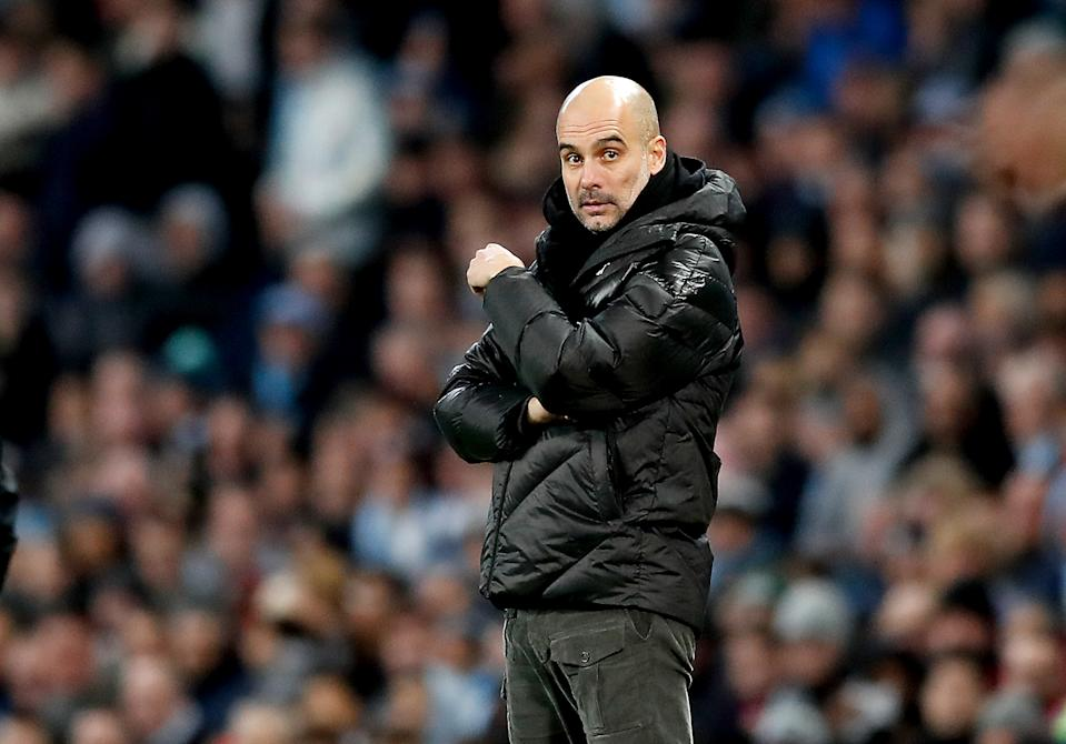 Manchester City manager Pep Guardiola on the touchline during the Premier League match at the Etihad Stadium, Manchester.