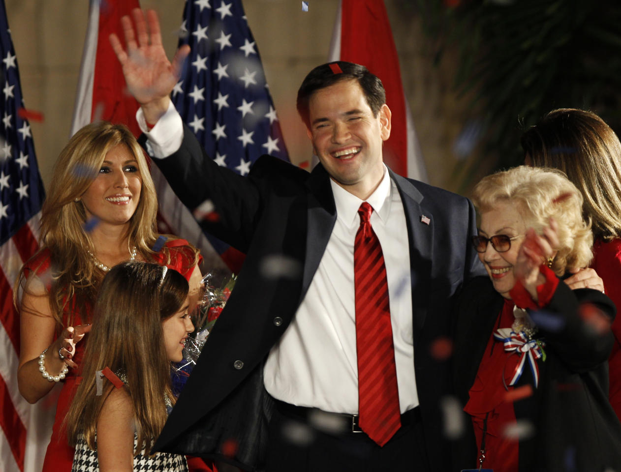 U.S. Republican Senate candidate Marco Rubio (C) waves as he leaves the stage with his wife Jeanette (L), mother Oria (R), and daughter Amanda, during an outdoor victory celebration at the Biltmore Hotel in Coral Gables, Florida November 2, 2010. REUTERS/Hans Deryk