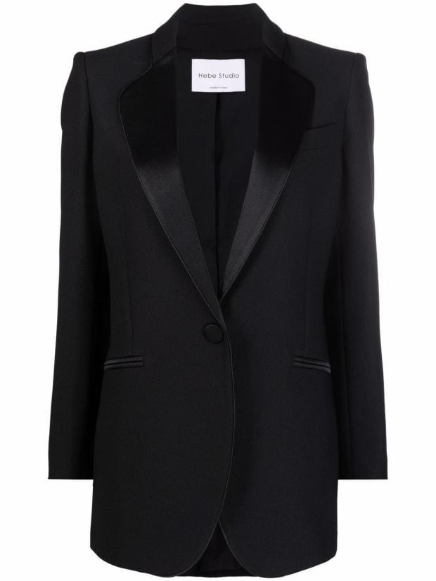 """<p>Hebe Studio Single-Breasted Tuxedo Jacket, $663, <a href=""""https://rstyle.me/+cTz_p4EhPBEbwb4X1-0Vxg"""" rel=""""nofollow noopener"""" target=""""_blank"""" data-ylk=""""slk:available here"""" class=""""link rapid-noclick-resp"""">available here</a> (sizes IT 42-48). </p>"""