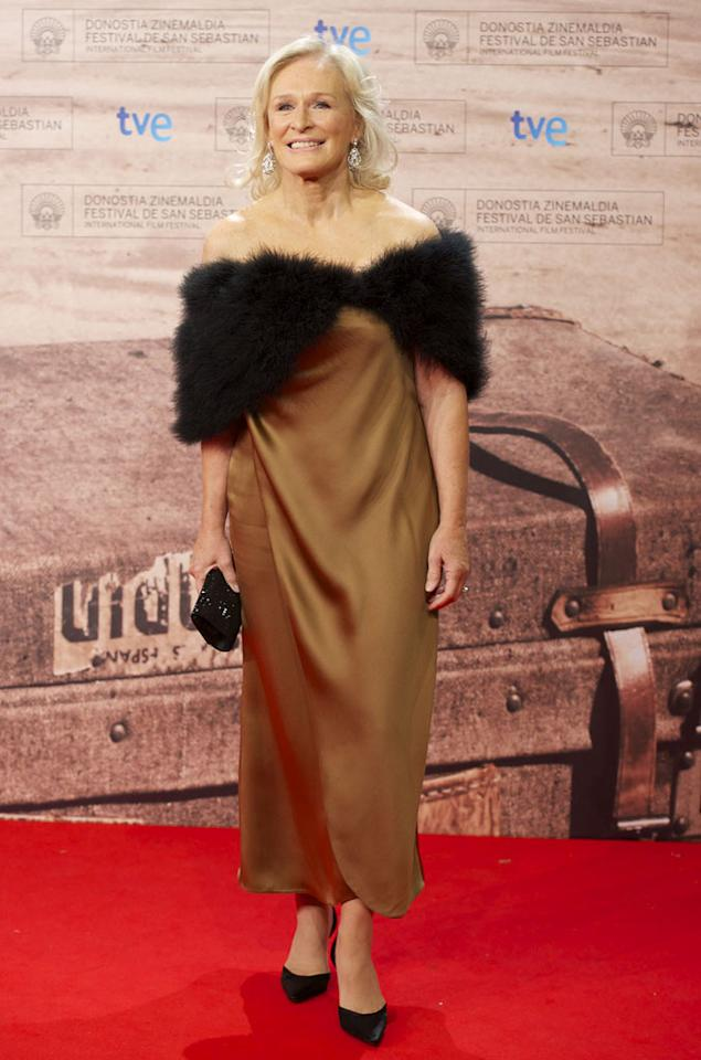 "And last, but certainly not least, we have actress extraordinaire Glenn Close, who thought pairing a mangy fur shrug with a potato sack would look lovely on the red carpet at the 59th San Sebastian International Film Festival. Needless to say, she was incorrect.   Check out last week's gallery <a href=""http://omg.yahoo.com/photos/what-were-they-thinking/5203"">here!</a>   Follow What Were They Thinking?! creator, <a href=""http://bit.ly/lifeontheMlist"" target=""new"">Matt Whitfield</a>, on Twitter! Carlos R. Alvarez/<a href=""http://www.wireimage.com"" target=""new"">WireImage.com</a> - September 18, 2011"