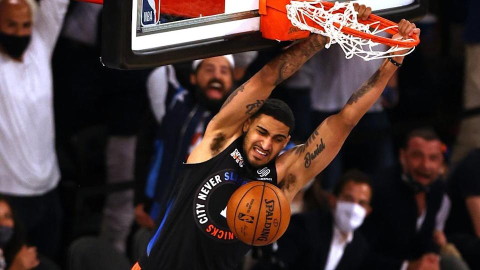 May 26, 2021; New York, New York, USA; New York Knicks forward Obi Toppin (1) dunks for a basket scored against the Atlanta Hawks during the second half of game two of the Eastern Conference quarterfinal at Madison Square Garden.