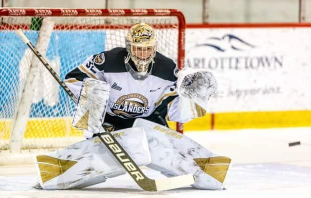 Colten Ellis, who plays for the Charlottetown Islanders, is at the top of all the QMJHL goalie statistical categories. (Darrell Theriault - image credit)