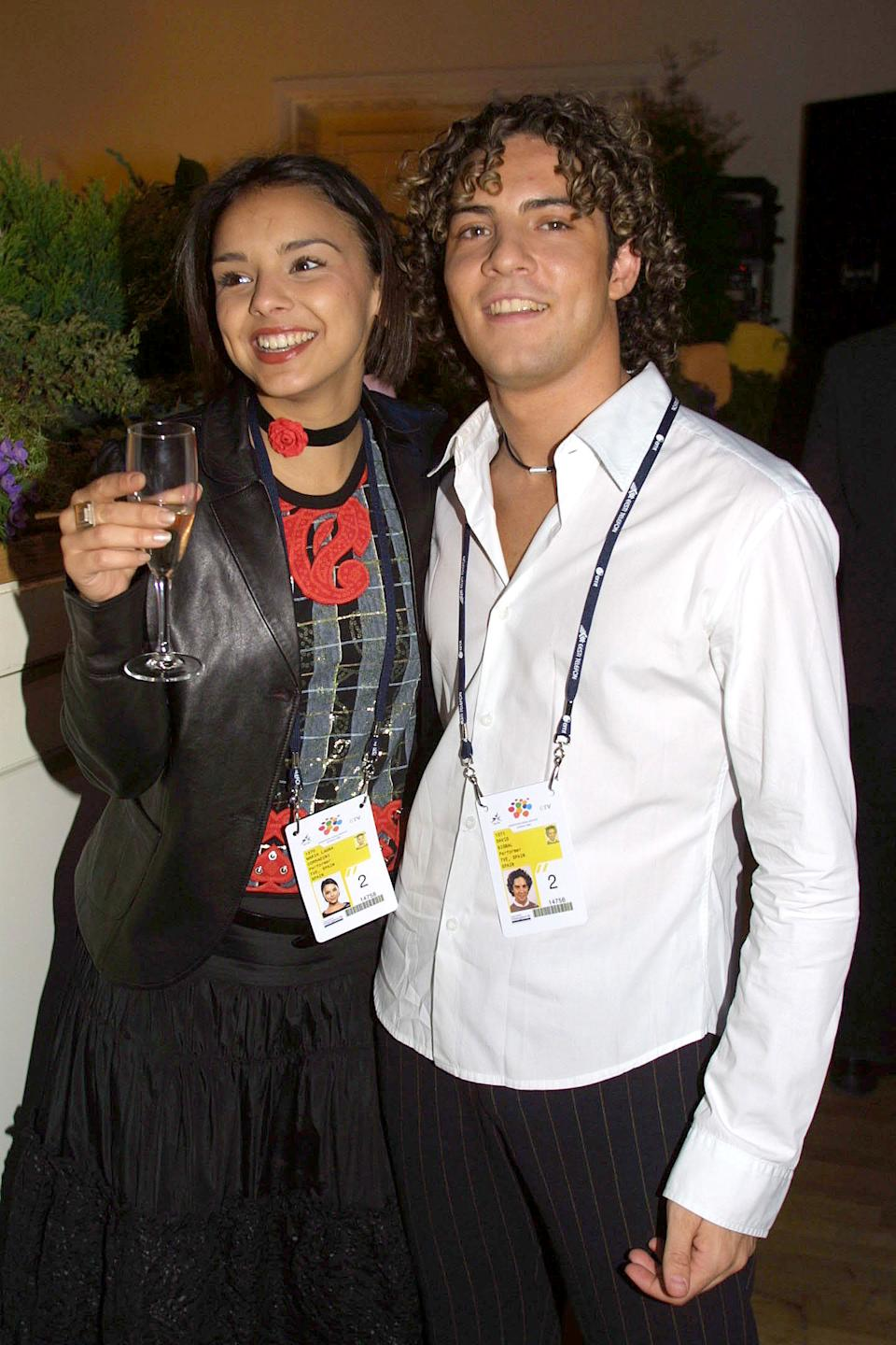 20.05.2002. Estonia. Tallin. David Bisbal and Chenoa enjoy the reception offered by the Mayor of Tallin all the participants of the Festival.  (Photo by Quim Llenas/Cover/Getty Images)